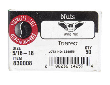 Hillman 0830008 Wing Nuts, Stainless Steel, 5/16