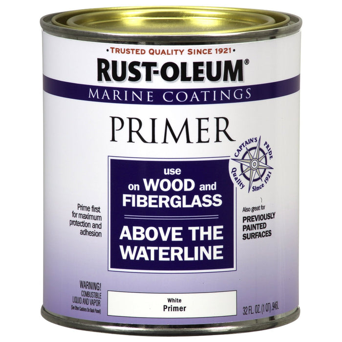 Rust-Oleum 207014 Marine Coatings Wood & Fiberglass Primer, White, 1 Quart