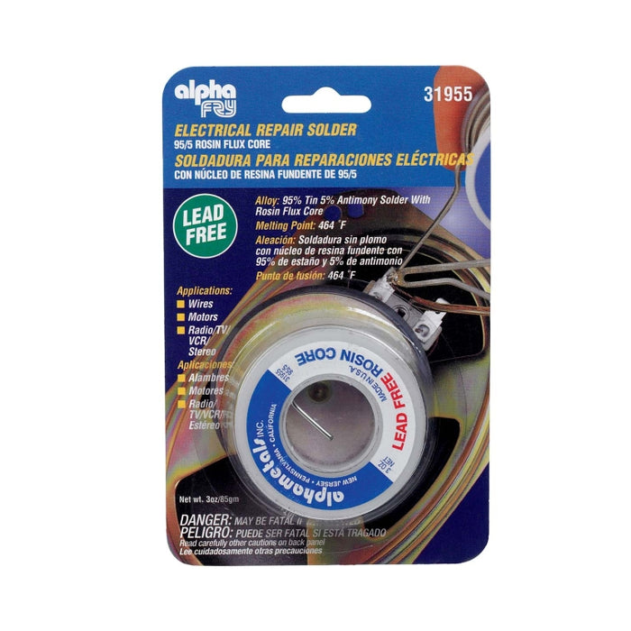 Alpha 31955 Lead-Free Electrical Rosin Core Solder, 3 Oz