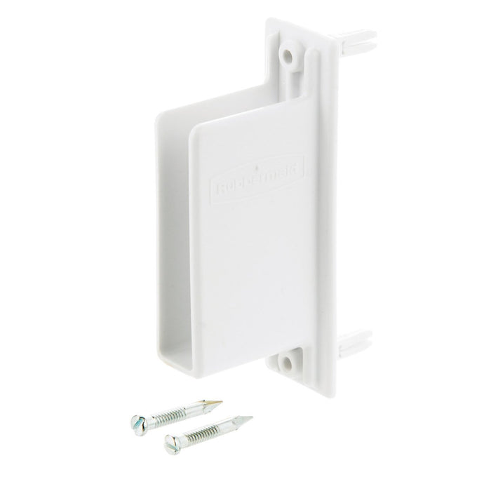 Rubbermaid 3D68-LW-WHT Free Slide Fast Set Wall End Bracket, White