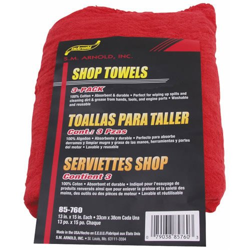 SM Arnold 85-760 Shop Towel, Red