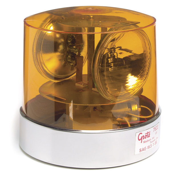 Grote 84015 360° 2-Sealed Beam Roto-Beacon Lamp, 12 V, Yellow