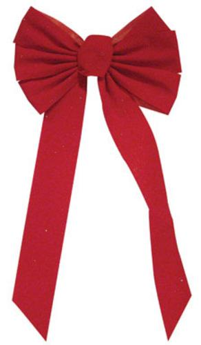 Holiday Trims 6072ACE Velvet Glitter Bow, Red, 12