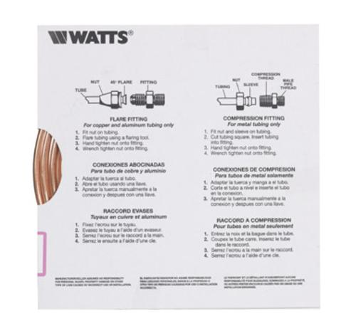 Watts UT04020 Pre-Cut Copper Tubing, 1/4