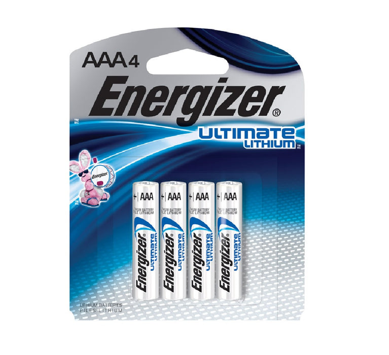 Energizer L92SBP-4 Ultimate Lithium Batteries, AAA, 1.5 Volts