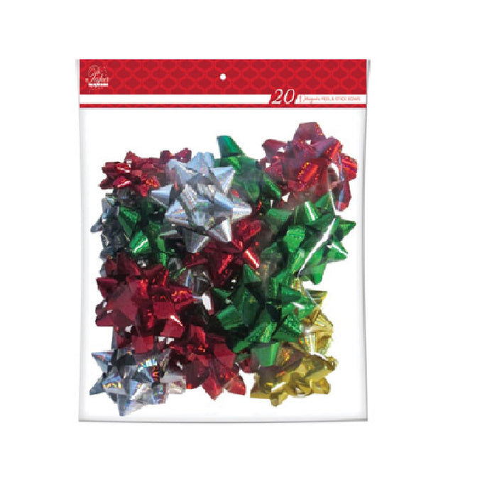 Paper Images BOWMP20CD-1 Traditional Holiday Bows, Assorted Colors