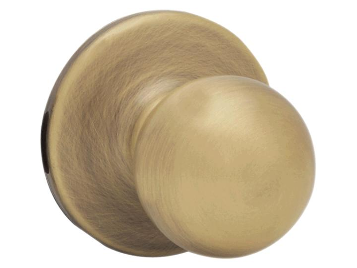 Kwikset 94002-435 Polo Entry Knob Lock, Antique Brass, 2-3/8
