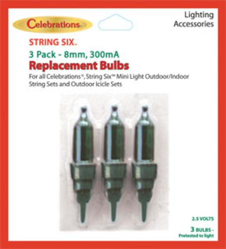 Celebrations 55253 Mini Replacement Bulbs, 2.5 volt, Green