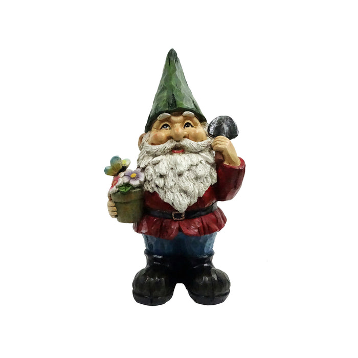 Alpine WQA1066 Polyresin Gnome Flower Pot Statue, Multicolored, 12