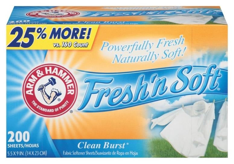 Arm & Hammer 14997 Fabric Softener Sheet, Box of 200