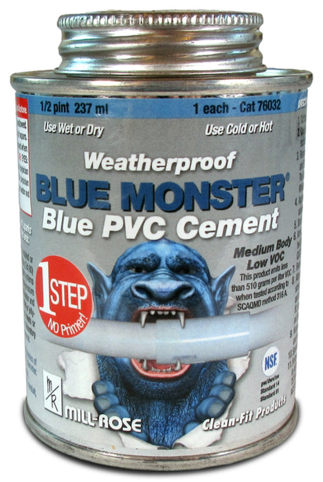 Blue Monster 76032 PVC Cement, 1/2 Pint