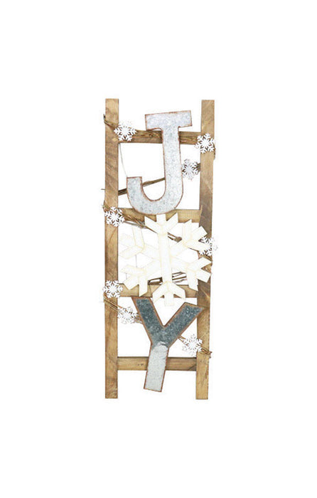Celebrations JK37757ACE Christmas Joy/Snow Flake On Ladder Wall Decor, Wood, Metal, Brown