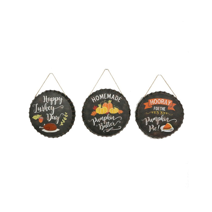 Celebrations JK39925 Bottle Cap Hanging Sign Fall Decor