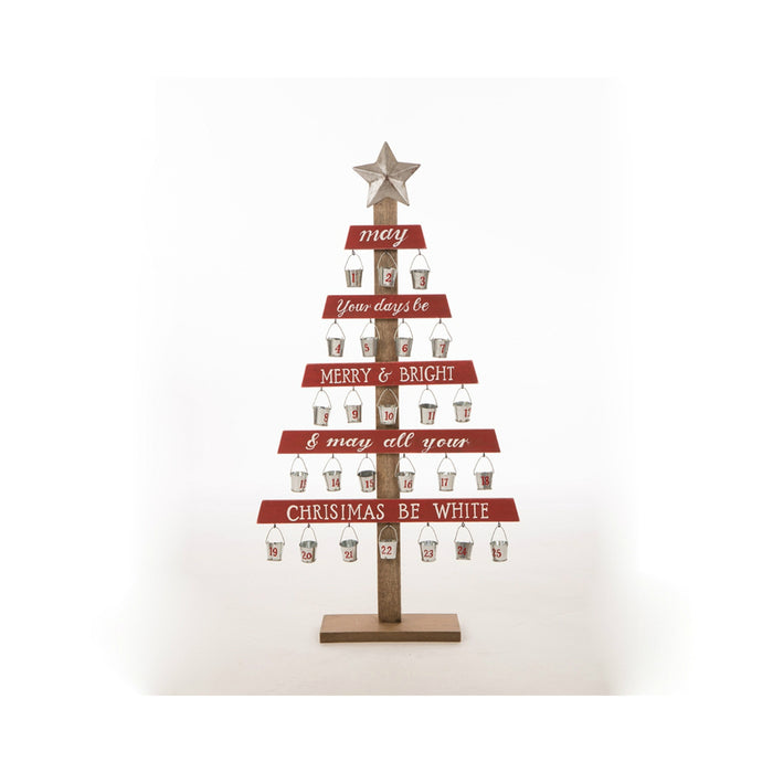 Celebrations JK37709 Countdown To Christmas Tree Decoration, Brown/Red