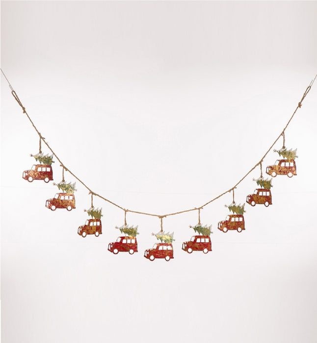 Celebrations JK47274 Rustic Car with Christmas Tree On Top Banner