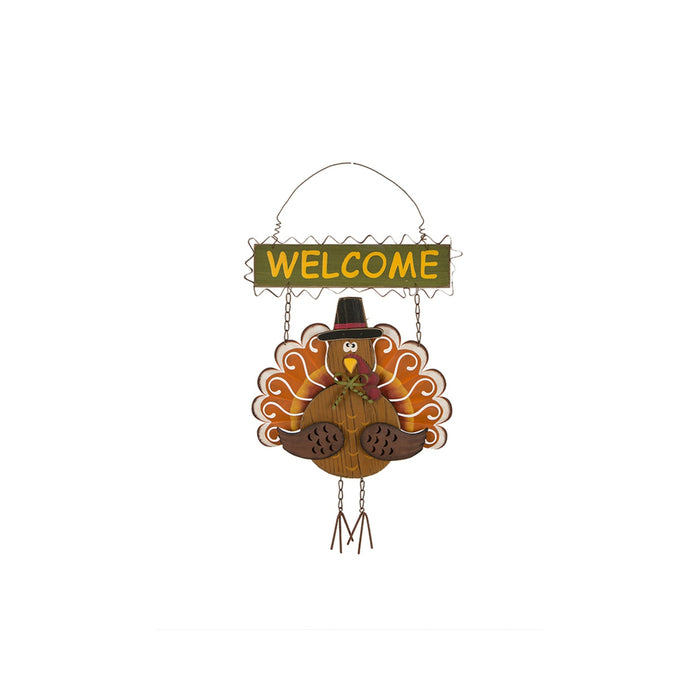 Celebrations JK34531 Turkey Welcome Sign Fall Decoration