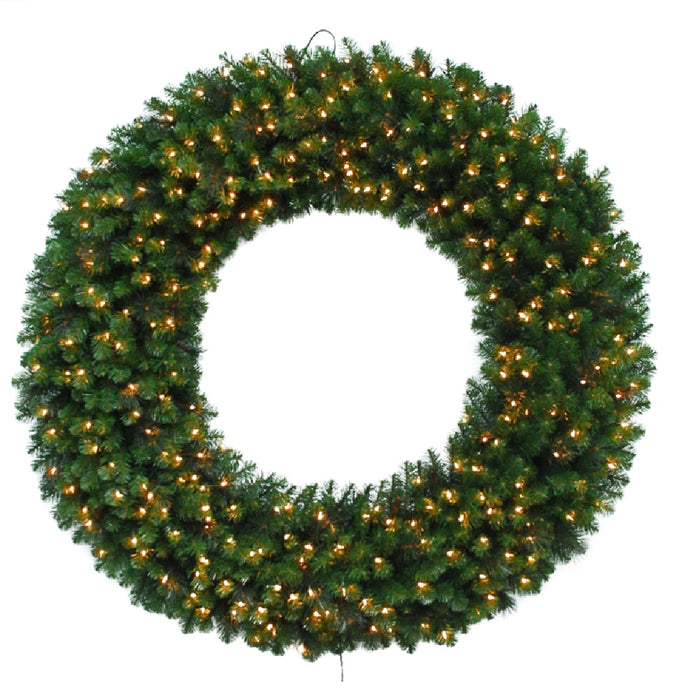 Celebrations MPWR-60-CLA Prelit Mixed Pine Christmas Wreath, 60
