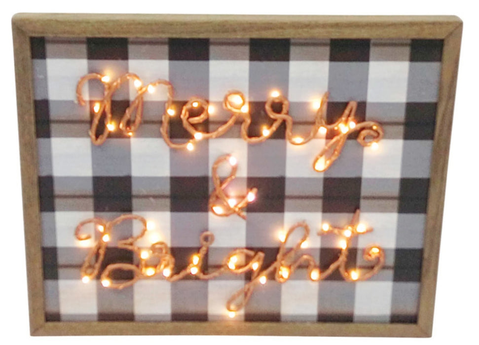 Celebrations XW37243 Merry & Bright Light-up Christmas Sign, MDF