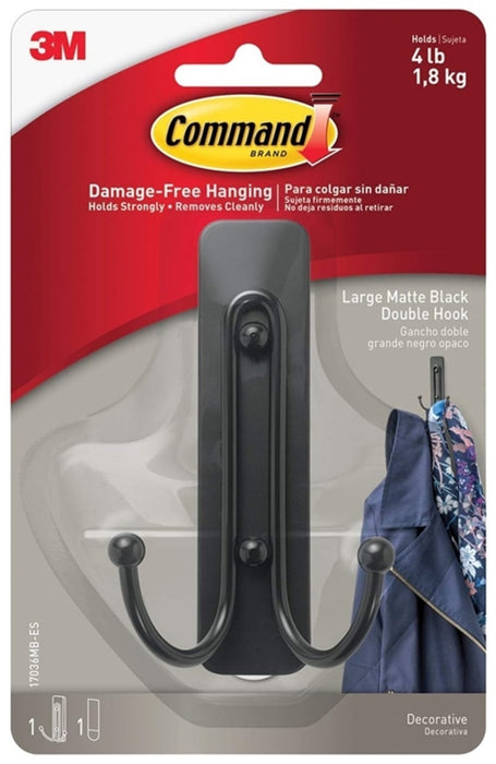 Command 17036MB-ES Double Hook, Large, Black
