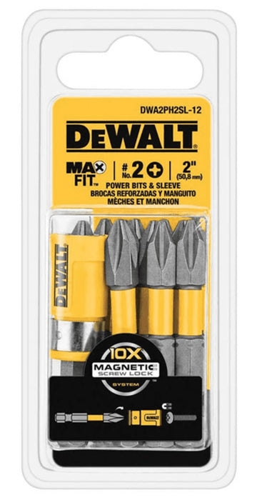 DeWalt DWA2PH2SL-12 MAXFIT Phillips Power Bit & Sleeve Set, #2 x 2
