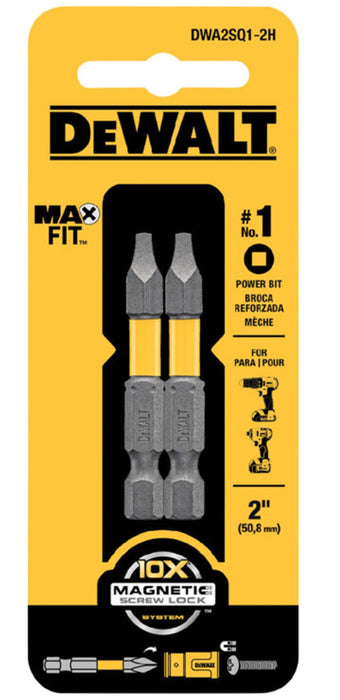DeWalt DWA2SQ1-2H MAXFIT Square Power Bits, #1 x 2