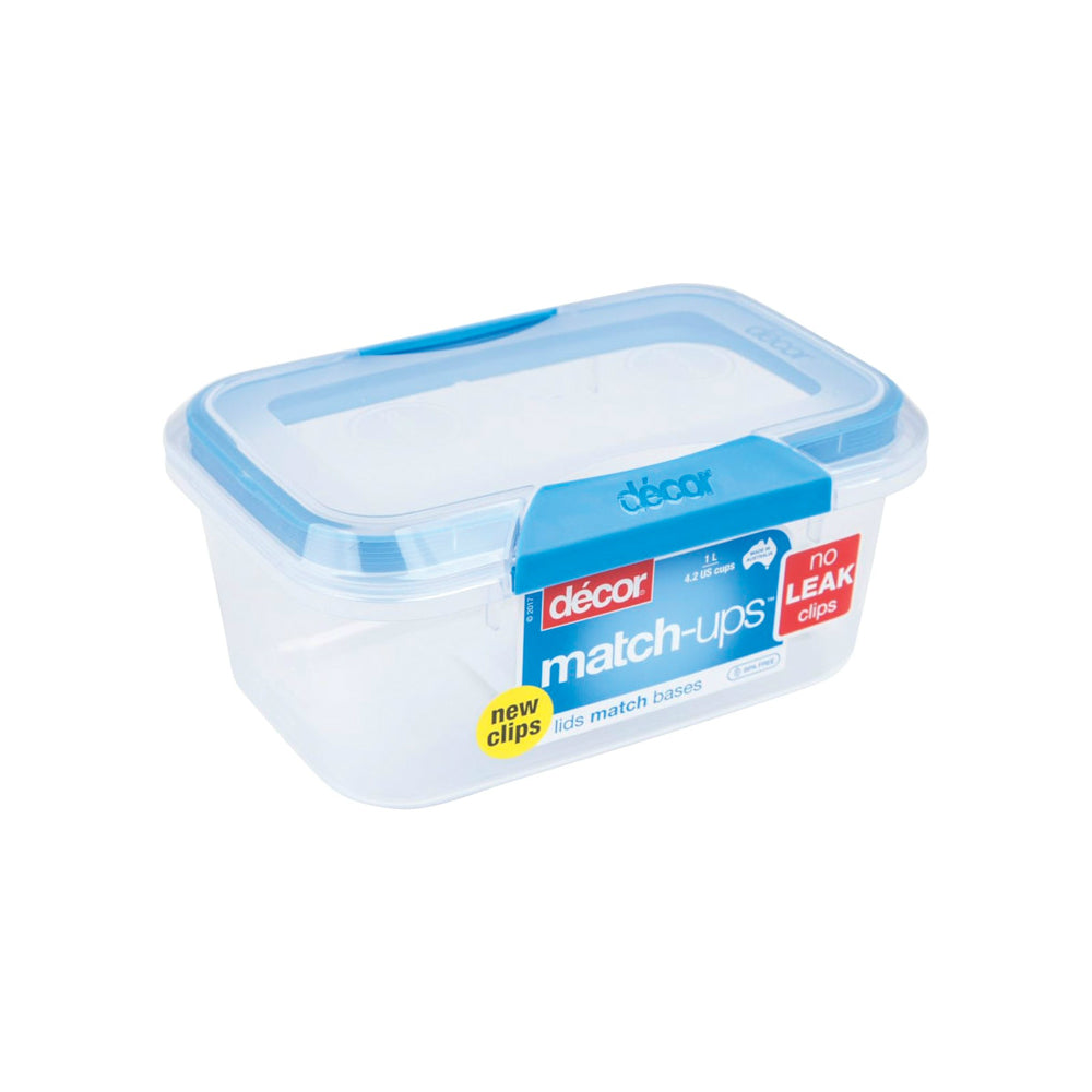Decor 231900-006 Match-ups Food Storage Container, Blue/clear