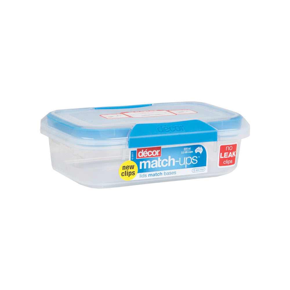 Decor 231800-006 Match-ups Food Storage Container, Blue/clear, 2.5 Cups