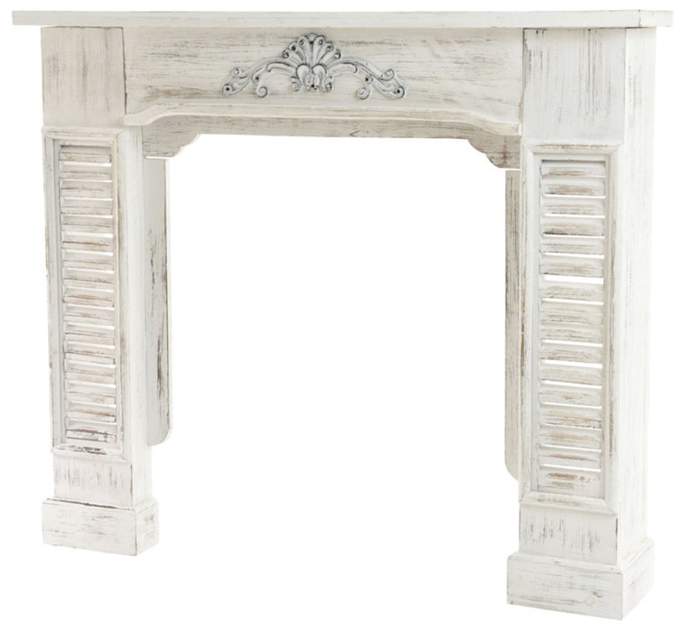 Decoris 550036 Christmas Decorative Fireplace Mantle, White Washed