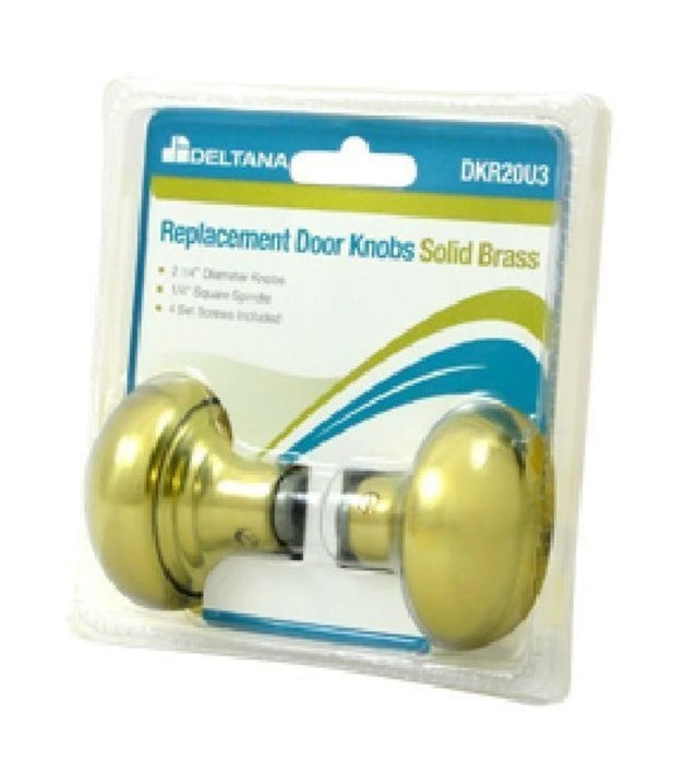 Deltana DKR20U3 Replacement Door knobs, Bright Brass