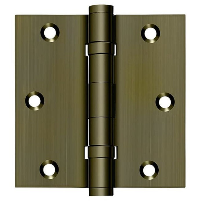 Deltana DSB35B5 Square Hinge, Ball Bearings, Antique Brass, 3-1/2