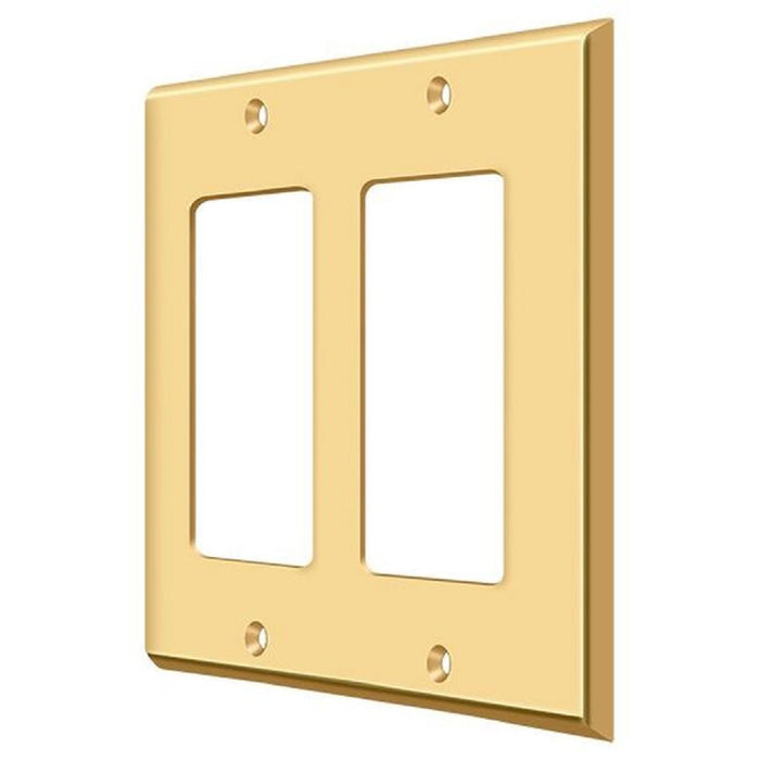 Deltana SWP4741CR003 Double Rocker Switch Plate, Lifetime Brass