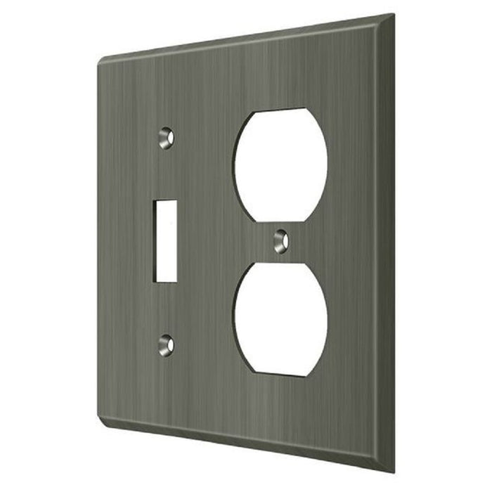 Deltana SWP4762U15A Double Outlet Switch Plate, Antique Nickel