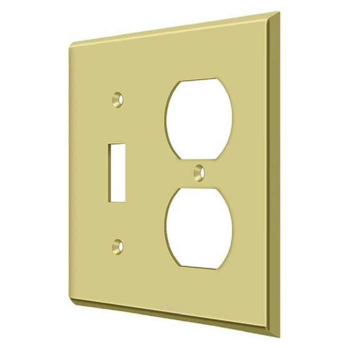 Deltana SWP4762U3 Double Outlet Switch Plate, Bright Brass