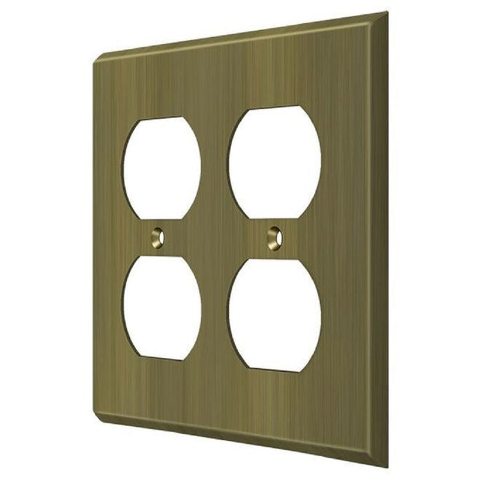 Deltana SWP4771U5 Quadruple Outlet Switch Plate, Antique Brass