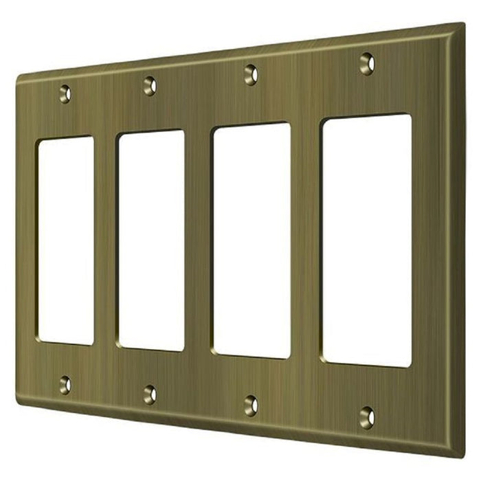 Deltana SWP4744U5  Quadruple Rocker Switch Plate, Antique Brass