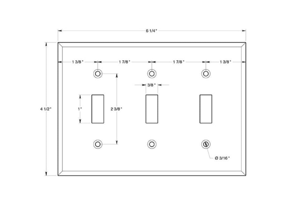 Deltana SWP4763U26 Triple Standard Switch Plate, Bright Chrome