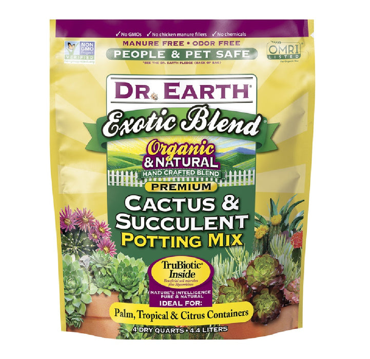 Dr. Earth 815 Exotic Blend Organic Cactus & Succulent Potting Mix, 4 Quart