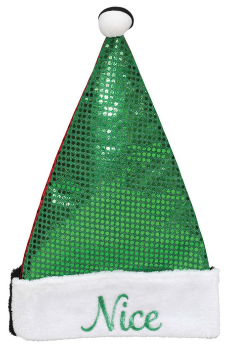 Dyno 0409529-1AC Naughty/Nice Christmas Santa Hat, Green/Red