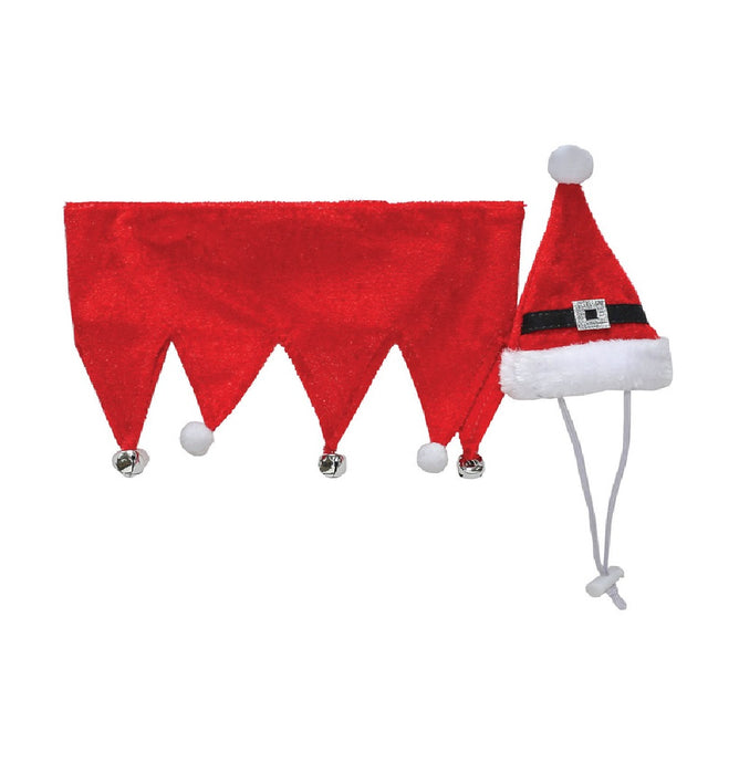 Dyno 3004184-1SM Christmas Santa Hat & Collar Pet Costume, Polyester
