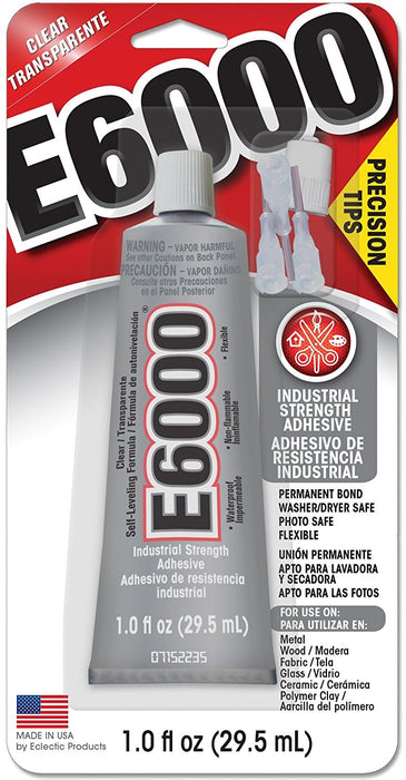 Eclectic Products 231020 E6000 Adhesive With Precision Tips, 1 Oz