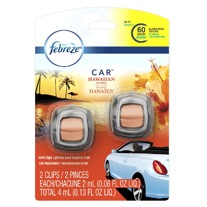 Febreze 81118 Car Hawaiian Aloha Scent Car Vent Clip, 0.13 Ounce