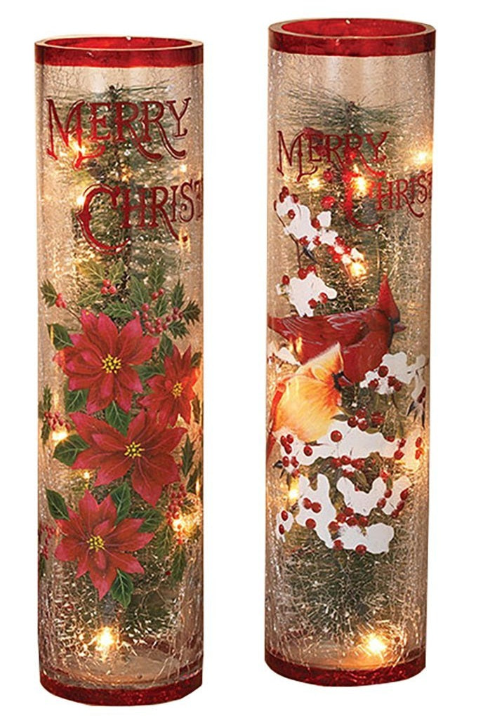 Assorted Electric Lighted Christmas Crackle Glass Low