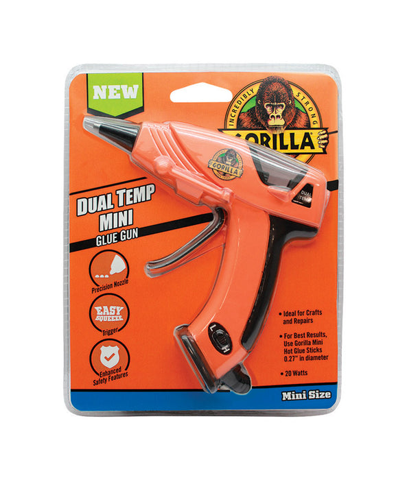 Gorilla 8401502 Dual Temperature Mini Glue Gun, Orange, 20 Watts