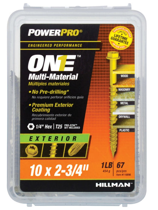 Hillman Fasteners 116898 Power Pro ONE Multi-Material Screws, #10 x 2-3/4