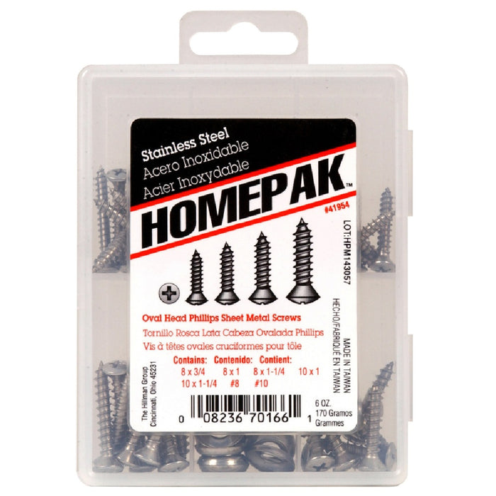 Homepak 41954 Phillips Oval Head Sheet Metal Screw Kit, Stainless Steel