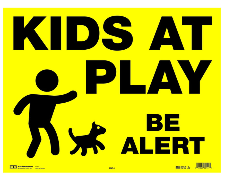 Hy-Ko MKP-1 English Kids At Play Be Alert Sign, Black/Yellow