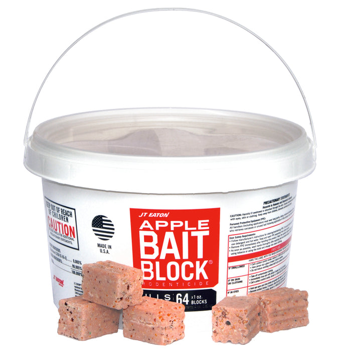 JT Eaton 704-AP Bait Block Apple Flavor Anticoagulant Rodenticide, Pack of 64