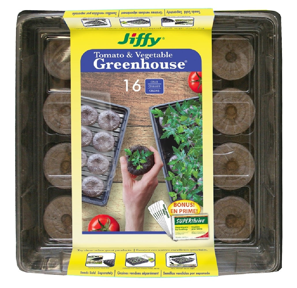 Jiffy Products J616st-11 Tomato & Vegetable Greenhouse With Label, 16 Cells