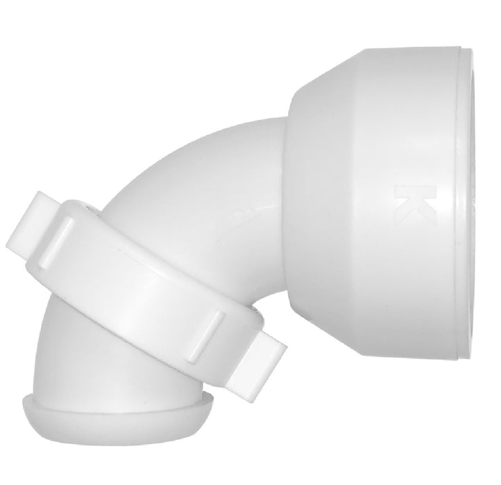 Keeney 30500QLK Insta-Plumb 90 Degree Elbow, Plastic, White
