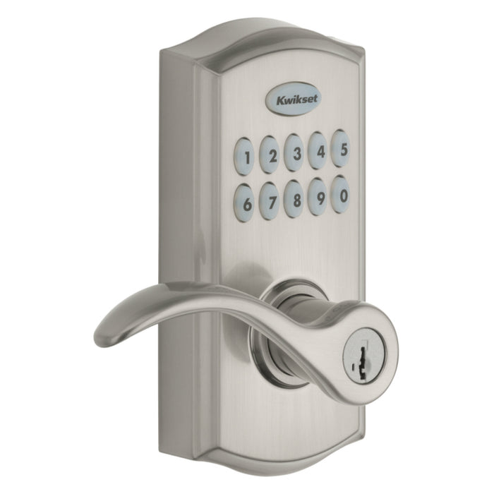 Kwikset 99550-002 SmartCode 955 Electronic Touch Pad Entry Lever, Satin Nickel